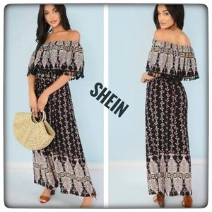 NWOT ~ SHEIN.Boho Off The Shoulder Maxi Dress